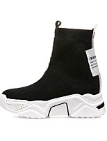 cheap -Women's Boots Wedge Heel Round Toe Booties Ankle Boots Casual Daily Walking Shoes Tissage Volant Color Block White Yellow / Mid-Calf Boots
