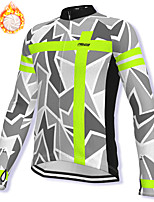 cheap -21Grams Men's Long Sleeve Cycling Jacket Winter Fleece Spandex Grey Bike Jacket Mountain Bike MTB Road Bike Cycling Fleece Lining Warm Sports Clothing Apparel / Stretchy / Athleisure