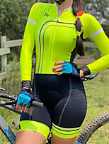 cheap -Men's Women's Long Sleeve Cycling Jersey with Shorts Triathlon Tri Suit Green Bike Breathable Quick Dry Sports Mountain Bike MTB Road Bike Cycling Clothing Apparel / Stretchy / Athletic