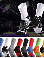cheap -Men's Women's Hiking Socks 1 Pair Winter Outdoor Breathable Warm Soft Stretchy Socks Patchwork POLY Chinlon White Black Yellow for Fishing Climbing Camping / Hiking / Caving / Cotton