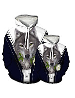 cheap -Family Look Active Dog Graphic Optical Illusion Animal Print Long Sleeve Regular Hoodie & Sweatshirt Navy Blue