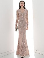 cheap -A-Line Elegant bodycon Engagement Formal Evening Dress V Neck Long Sleeve Floor Length Sequined with Sequin 2020
