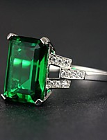 cheap -Ring 3D Green Copper Rhinestone Silver Plated Precious Fashion 1pc 7 8 9 / Women's / Promise Ring