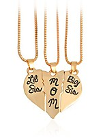 cheap -fashion mother and daughter puzzle dog tag necklace jewlery big sis mom lil sis letter matching engraved necklace (gold)