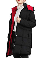 cheap -women's winter warm thick down jacket hooded puffer coat women both side patchwork coat zip button cardigan red