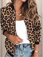 cheap -Women's Leopard Patchwork Streetwear Spring &  Fall Jacket Regular Sports Long Sleeve Rayon Coat Tops Khaki