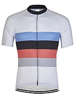 cheap -21Grams Men's Short Sleeve Cycling Jersey White Stripes Bike Jersey Mountain Bike MTB Road Bike Cycling Breathable Sports Clothing Apparel / Athletic