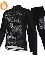 cheap -21Grams Men's Long Sleeve Cycling Jacket with Pants Winter Fleece Spandex Black Skull Bike Fleece Lining Warm Sports Graphic Mountain Bike MTB Road Bike Cycling Clothing Apparel / Stretchy