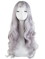 cheap -26 inch synthetic heat resistant fiber long curly silver grey thin bangs hair costume cosplay wigs carnival events hairpiece