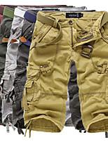 "cheap -Men's Hiking Cargo Shorts Solid Color Summer Outdoor 12"" Loose Breathable Anti-tear Multi-Pocket Cotton Shorts Army Green Burgundy Dark Gray Light Grey Khaki Hunting Fishing Climbing 29 30 31 32 34"