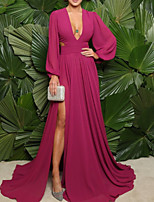 cheap -A-Line Minimalist Elegant Wedding Guest Formal Evening Dress V Neck Long Sleeve Sweep / Brush Train Chiffon with Pleats Split 2020