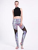 cheap -Women's Basic Casual Comfort Daily Gym Leggings Pants Color Block Full Length Patchwork Print Purple
