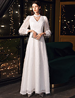 cheap -A-Line Minimalist Elegant Wedding Guest Formal Evening Dress Halter Neck Long Sleeve Floor Length Lace with Sleek 2020