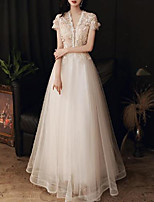 cheap -A-Line Elegant Floral Engagement Formal Evening Dress V Neck Short Sleeve Floor Length Tulle with Pleats Appliques 2020