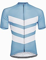 cheap -21Grams Men's Short Sleeve Cycling Jersey Sky Blue Patchwork Bike Jersey Mountain Bike MTB Road Bike Cycling Breathable Sports Clothing Apparel / Athletic