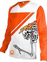 cheap -21Grams Men's Long Sleeve Downhill Jersey Orange Skull Bike Jersey Top Mountain Bike MTB Road Bike Cycling UV Resistant Quick Dry Sports Clothing Apparel / Athletic