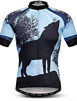 cheap -21Grams Men's Short Sleeve Cycling Jersey Blue Wolf Bike Jersey Mountain Bike MTB Road Bike Cycling Breathable Quick Dry Sports Clothing Apparel / Athletic
