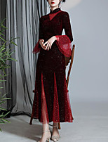cheap -Sheath / Column Chinese Style Elegant Wedding Guest Formal Evening Dress High Neck Long Sleeve Ankle Length Velvet with Sequin 2020