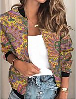 cheap -Women's Plants Patchwork Streetwear Spring &  Fall Jacket Regular Sports Long Sleeve Rayon Coat Tops Khaki