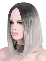 cheap -short gray wig silver hairs ombre cosplay wigs for women short bob wig no bangs middle part shoulder length not human hair