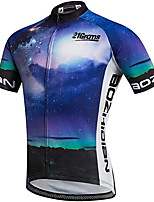 cheap -21Grams Men's Short Sleeve Cycling Jersey Blue Bike Jersey Top Mountain Bike MTB Road Bike Cycling UV Resistant Quick Dry Sports Clothing Apparel / Athletic
