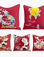 cheap -cushion cover 5pc linen soft decorative square throw pillow cover cushion case pillowcase for sofa bedroom 45 x 45 cm (18 x 18 inch) superior quality machine washable crane sun new chinese