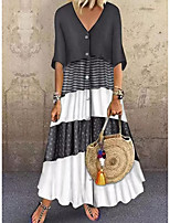 cheap -Women's Swing Dress Maxi long Dress - Half Sleeve Color Block Patchwork Print Spring Summer Casual Vintage 2021 Brown Gray M L XL XXL 3XL
