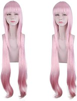 cheap -Cosplay Costume Wig vanilla Curly Neat Bang Wig Long Pink+Red Synthetic Hair Women's Anime Cosplay Silky Pink