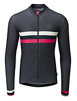 cheap -21Grams Men's Long Sleeve Cycling Jersey Black Stripes Bike Jersey Mountain Bike MTB Road Bike Cycling Breathable Sports Clothing Apparel / Athletic