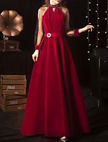 cheap -A-Line Elegant Vintage Engagement Formal Evening Dress High Neck Long Sleeve Floor Length Velvet with Sash / Ribbon Pleats 2020