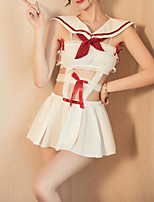 cheap -Women's Ruched Bow Normal Babydoll & Slips Suits Nightwear Patchwork White One-Size