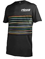 cheap -21Grams Men's Short Sleeve Downhill Jersey Spandex Black Stripes Bike Jersey Top Mountain Bike MTB Road Bike Cycling UV Resistant Quick Dry Sports Clothing Apparel / Athletic