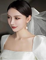 cheap -One-tier Artistic Style Wedding Veil Blusher Veils with Satin Bow Organza