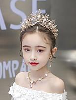 cheap -1pcs Kids / Toddler Girls' Children's Crown Tiara Princess Atmosphere Super Fairy Queen Korean Version Of The Headband Golden Crown Three-Piece Set Host Catwalk