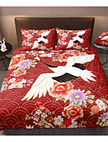 cheap -red-crowned crane 3-piece duvet cover set hotel bedding sets comforter cover with soft lightweight microfiber, include 1 duvet cover, 2 pillowcases for double/queen/king(1 pillowcase for twin/single)