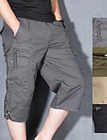 "cheap -Men's Hiking Cargo Shorts Solid Color Summer Outdoor 12"" Breathable Anti-tear Multi-Pocket Cotton Shorts Black Army Green Grey Khaki Hunting Fishing Climbing M L XL XXL XXXL"