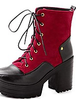 cheap -women's platform chunky block heel military combat boots ladies lace-up ankle boots (red, numeric_7_point_5)