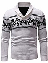 cheap -men's sweater autumn winter ethnic style knitted sweatshirt casual long sleeve slim fit pullover tops v neck christmas pattern white m