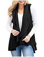 cheap -women's fashion faux suede sleeveless fringed vest solid cardigan jacket top