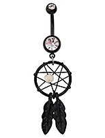 """cheap -surgical steel black pvd navel belly button ring 7/16"""" dream catcher 14g"""