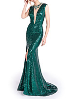cheap -Mermaid / Trumpet Glittering Sexy Engagement Formal Evening Dress Illusion Neck Sleeveless Sweep / Brush Train Sequined with Sequin Split 2020