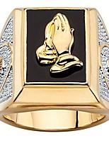 cheap -men's 14k yellow gold plated rectangular shaped natural black onyx praying hands ring