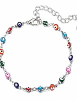 cheap -evil eye anklet for women teen girls, 18k gold or white gold plated ankle bracelet with extension summer foot jewelry (white)