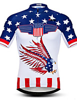 cheap -21Grams Men's Short Sleeve Cycling Jersey White Bike Jersey Mountain Bike MTB Road Bike Cycling Breathable Sports Clothing Apparel / Athletic