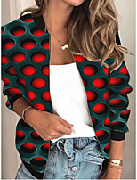 cheap -Women's Polka Dot Patchwork Streetwear Spring &  Fall Jacket Regular Sports Long Sleeve Rayon Coat Tops Blue
