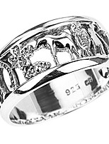 cheap -silver ring with elephant, owl, horseshoe, seven, evil eye and clover flower (size 7.5)