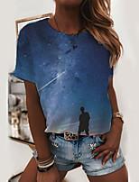 cheap -Women's T shirt 3D Print Round Neck Tops Basic Basic Top Rainbow