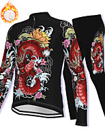 cheap -21Grams Men's Long Sleeve Cycling Jacket with Pants Winter Fleece Spandex Black Dragon Bike Fleece Lining Warm Sports Dragon Mountain Bike MTB Road Bike Cycling Clothing Apparel / Stretchy