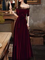 cheap -A-Line Minimalist Elegant Wedding Guest Formal Evening Dress Off Shoulder Short Sleeve Floor Length Velvet with Bow(s) 2020