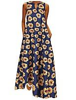 cheap -hotkey women plus size dress summer casual loose sleeveless vintage sunflower print daily v neck bohemian long maxi dress navy